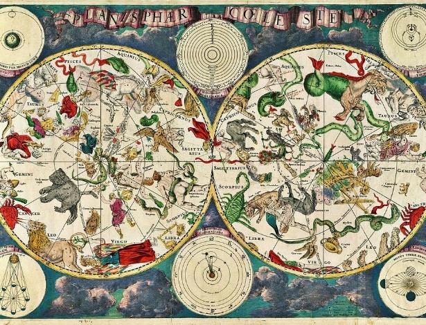 """MAPA DAS ESTRELAS - Os povos antigos, como os gregos e os babilônios, já conheciam as constelações e identificavam-as com """"cartas celestes"""". O mapa registrava a localização de estrelas conhecidas naquela época. Desde então, muitas outras foram feitas e atualizadas, como esta da foto, feita pelo cartógrafo holandês Frederik de Wit, no século 17. Atualmente é possível ver alguns mapas em aplicativos de celular"""