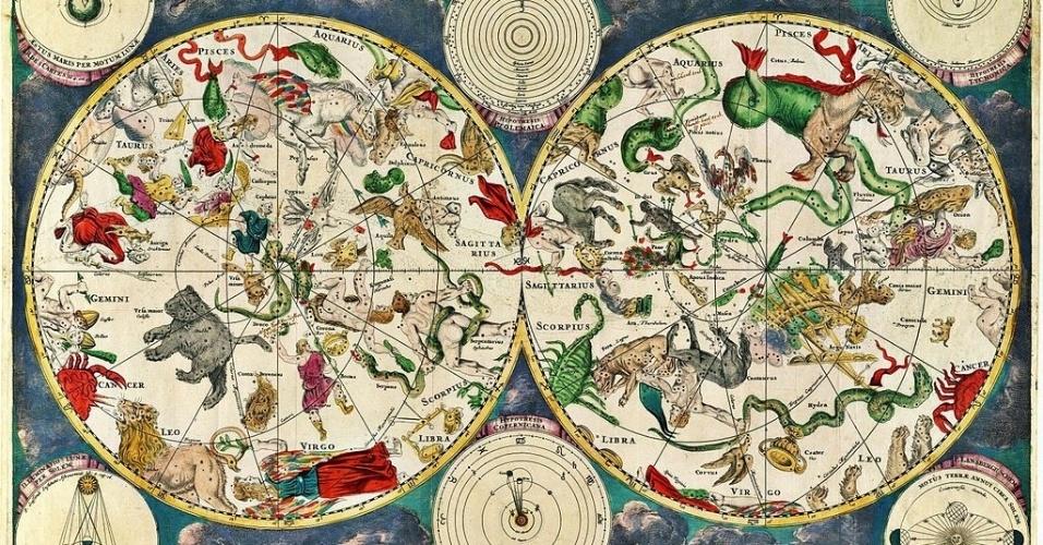 MAPA DAS ESTRELAS - Os povos antigos, como os gregos e os babilônios, já conheciam as constelações e identificavam-as com