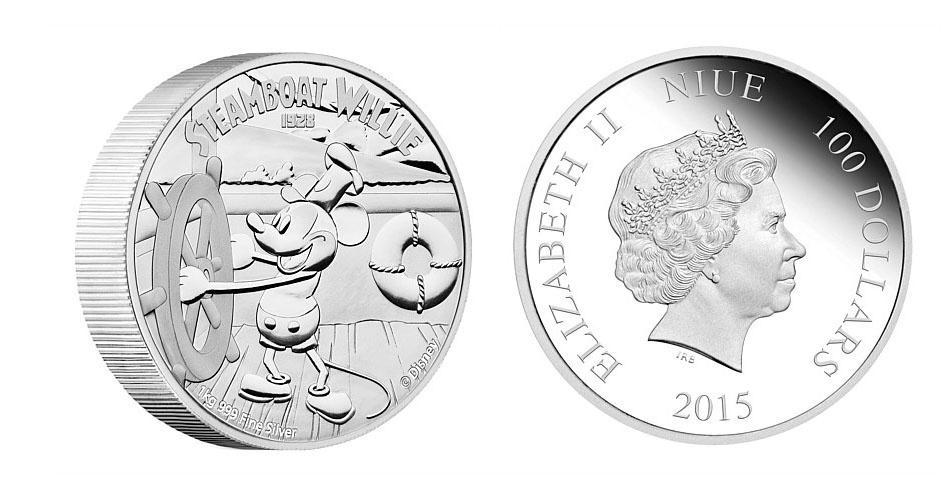 Moeda de 100 dólares de Niue, ilha do Pacífico que é um território associado da Nova Zelândia, estampada com o Mickey; a edição faz parte de uma série especial com a evolução do personagem mais famoso da Disney