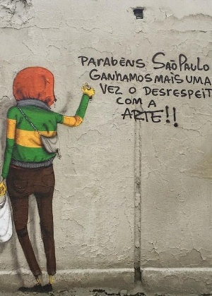 27.jan.2017 - Dupla de grafiteiros Os Gêmeos posta imagem no Facebook criticando ação do prefeito João Doria