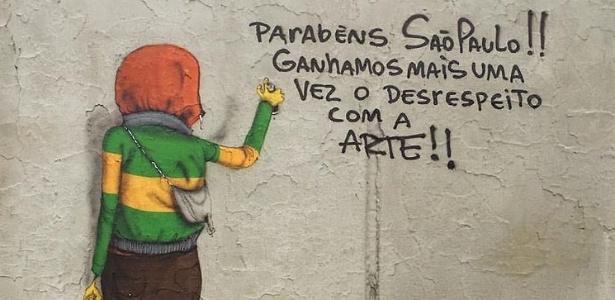 Dupla de grafiteiros Os Gêmeos posta imagem no Facebook criticando o combate do prefeito João Doria a grafites e pichações em São Paulo