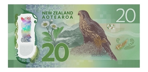 Nova Zelândia: Na nota de 20 dólares neozelandeses, o animal que aparece é o falcão-da-nova-zelândia
