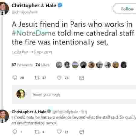 Tuíte de jornalista deu início a boato de incêndio criminoso na catedral de Notre-Dame, em Paris - Reprodução/Twitter