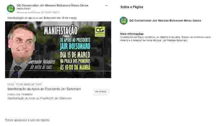 Responsável por página de apoio ao presidente Jair Bolsonaro pagou anúncios convocando para protesto pró-governo no domingo (15) - Reprodução/Facebook