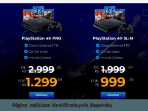 Página maliciosa de promoção com PS4 - Karpersky/Divulgação - Karpersky/Divulgação