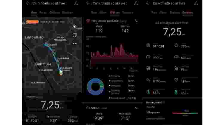 Interface do aplicativo Huawei Saúde, que gerencia os smartwatches da marca chinesa - Reprodução - Reprodução