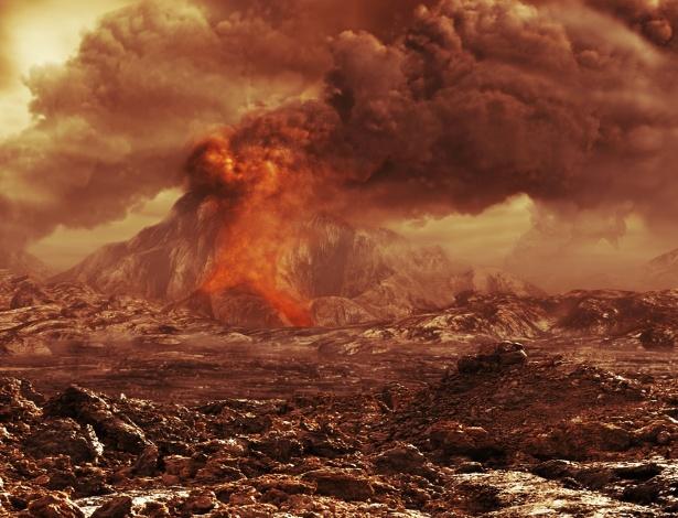 Ilustração divulgada pela Agência Espacial Europeia (ESA, na sigla em inglês) representaria um vulcão ativo em Vênus