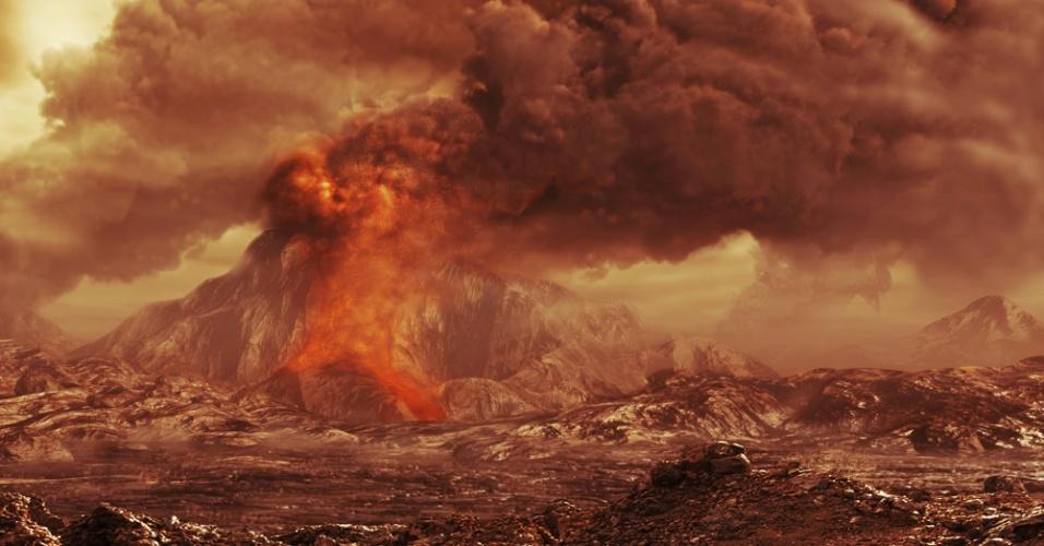 18.jun.2015 - Ilustração divulgada pela Agência Espacial Europeia (ESA, na sigla em inglês) representaria um vulcão ativo em Vênus