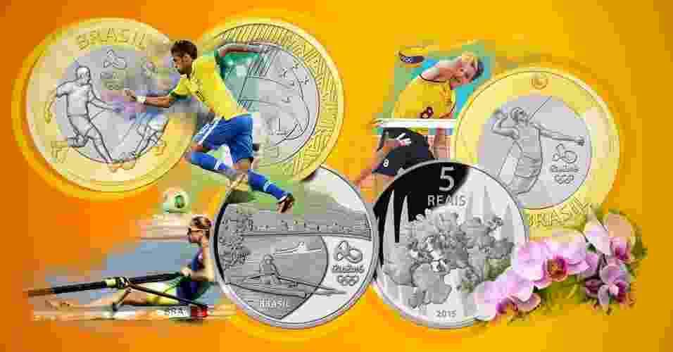 Montagem para álbum de moedas comemorativas dos Jogos Olímpicos Rio 2016 - Arte/UOL