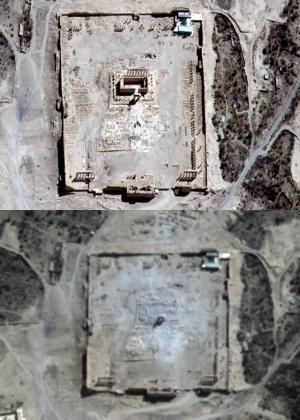 Antes e depois do Templo de Bel - AFP PHOTO / UNITAR-UNOSAT / AIRBUS DS / URTHECAST