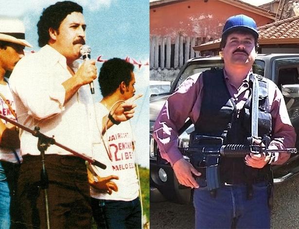 """Pablo Escobar foi o fundador do famoso cartel de Medellín, na Colômbia. O """"rei da cocaína"""", como ficou conhecido, foi responsável por até 80% da droga distribuída no mundo no fim da década de 80. El Patrón chegou a ganhar US$ 30 bilhões por ano. El Chapo lidera o cartel de Sinaloa desde o começo da dedada de 90 e hoje distribui droga por praticamente todo o território dos EUA, sendo que a maior parte do seu mercado consumidor está na costa leste americana, bem distante da sua base, que fica na costa oeste mexicana. Até sua segunda prisão, em 2014, sua renda era estimada em US$ 1,153 bilhão"""