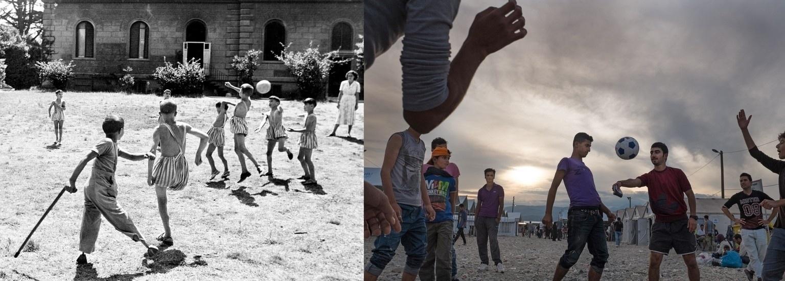 Em ambos os casos, uma bola foi o objeto perfeito para refugiados se distraírem. À esquerda, crianças com deficiências físicas brincam em 1950 na Itália, enquanto a imagem mais atual de 2015 mostra adolescentes fazendo o mesmo na Macedônia