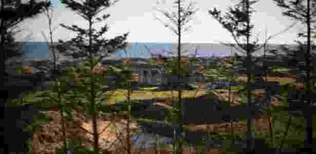 18.nov.2016 - Árvores e cerca construída pelo presidente eleito dos EUA, Donald Trump, em seu campo de golfe em Balmedie, na Escócia - Jeremy Sutton-Hibbert/The New York Times - Jeremy Sutton-Hibbert/The New York Times