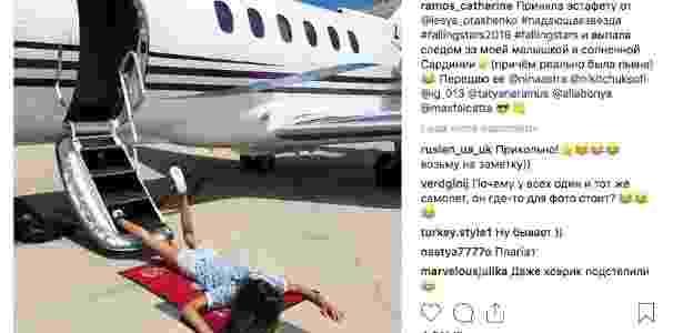 A modelo Ekaterina Hubarenko publicou uma foto em que havia aparentemente tropeçado ao sair de um jatinho e deu início ao desafio