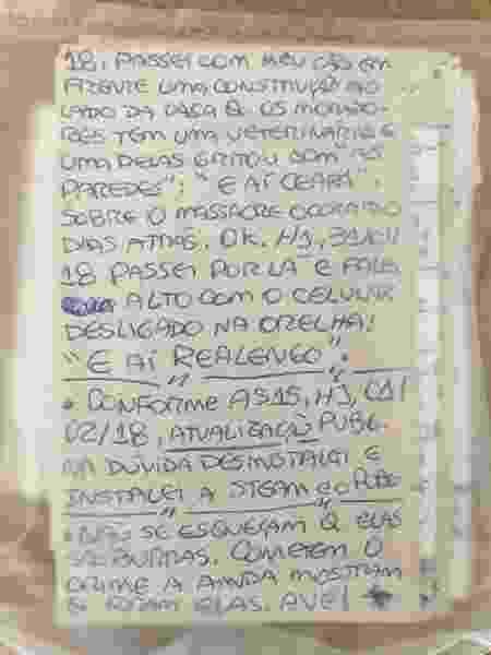 Diário do atirador Euler Grandolpho cita massacres  - 12.dez.2018 - Guilherme Mazieiro/UOL