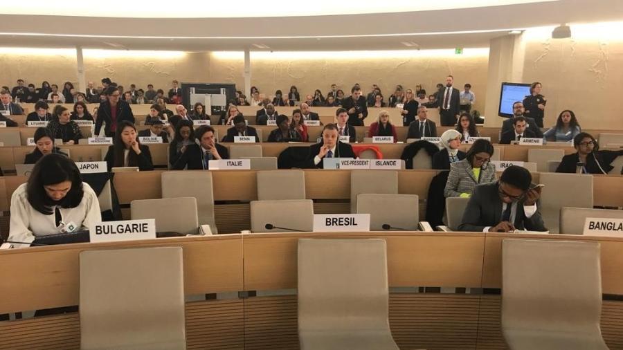 27.fev.2019 - Cadeira do Brasil na sala de conferências da ONU, em Genebra, fica vazia durante boicote ao discurso do chanceler da Venezuela, Jorge Arreaza, que discursava na reunião do Conselho de Direitos Humanos das Nações Unidas - Jamil Chade/UOL