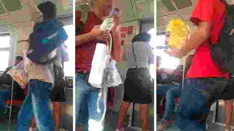 1º.ago.2019 - Vendedores ambulantes em trem da linha 8-diamante da CPTM - UOL