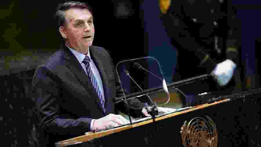 24.set.2019 - O presidente Jair Bolsonaro discursa na abertura da 74ª Assembleia Geral da ONU, em Nova York - Carlo Allegri/Reuters