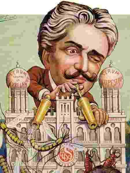 Charge de Oswaldo Cruz combatendo febre amarela e peste bubônica em 1911 - Museu da Funasa - Museu da Funasa