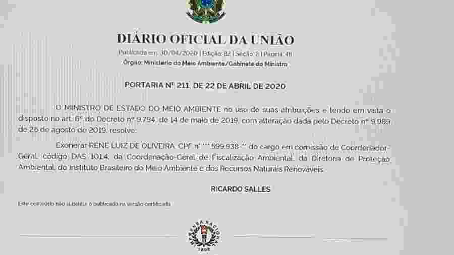 Portaria que destituiu chefe da fiscalização do Ibama no dia 22/04 - Reprodução/Imprensa Nacional