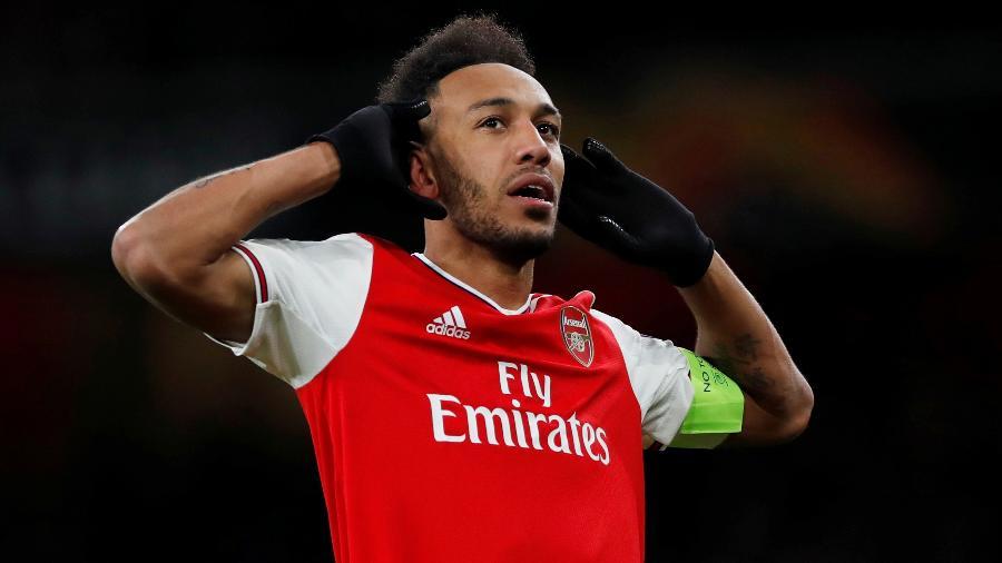 Atacante Pierre-Emerick Aubameyang tornou-se um dos 20 maiores artilheiros do Arsenal no Campeonato Inglês - PAUL CHILDS