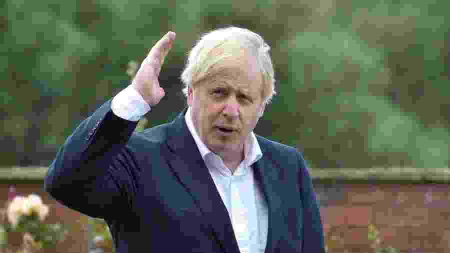 Primeiro-ministro do Reino Unido, Boris Johnson, em Beeston -