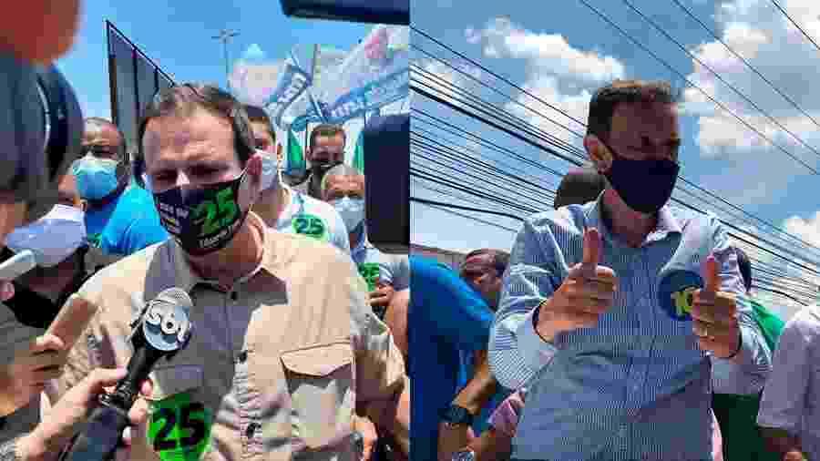 27.nov.2020 - Eduardo Paes e Marcelo Crivella no último dia de campanha na rua - Arte/UOL