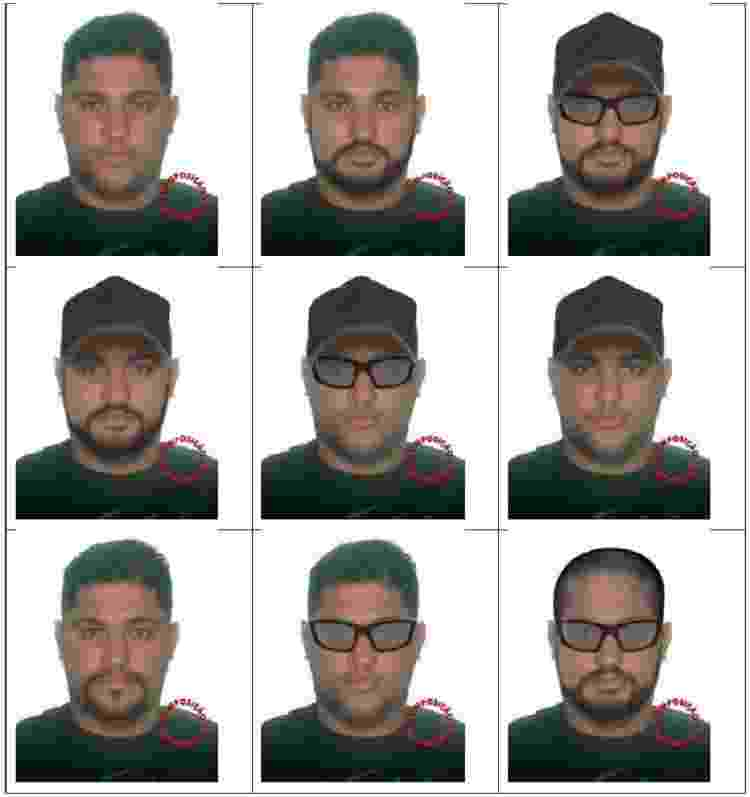 Com e sem óculos, com e sem barba: PF divulga possíveis disfarces de André do Rap - Divulgação/PF - Divulgação/PF