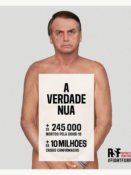 """Com Bolsonaro """"nu"""", ONG lança campanha contra desinformação do governo -  22/02/2021 - UOL Notícias"""