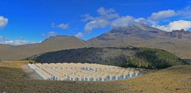 O Observatório de Raios-Gama HAWC fica em um dos pontos mais altos do México, a 4,1 mil metros de altitude - HAWC