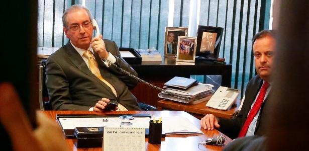 O ex-presidente da Câmara, Eduardo Cunha (PMDB-RJ), ao lado do deputado André Moura (PSC-SE)