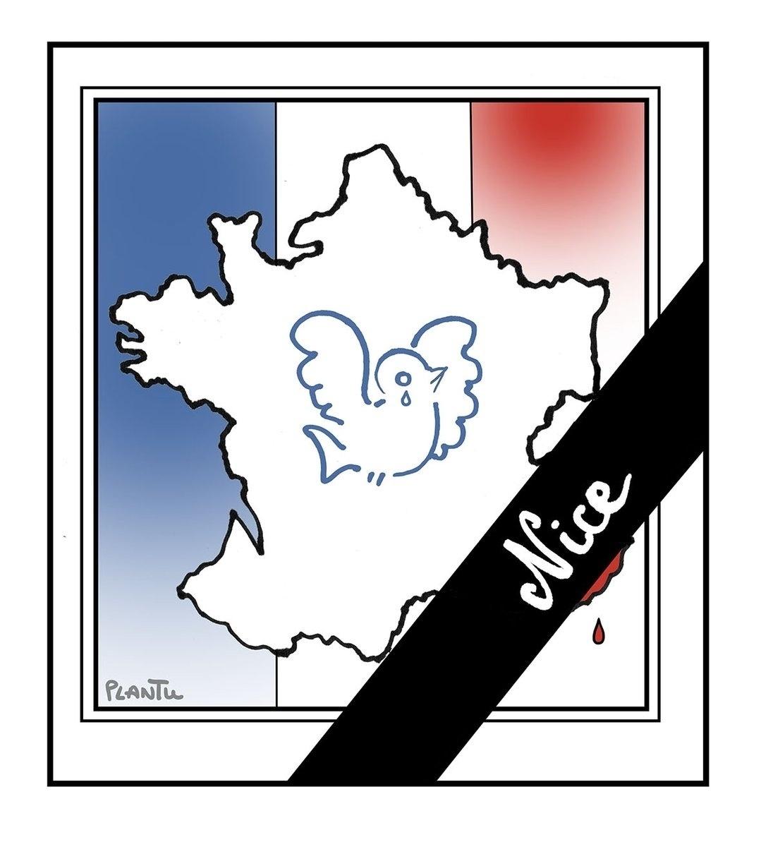 15.jul.2016 - O luto por Nice atravessa a bandeira francesa