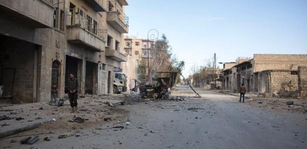 Bab al-Nayrab, um dos bairros destruídos em Aleppo, na Síria