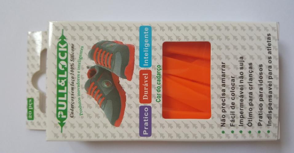 Cadarço para tênis importado, comercializado pela empresária Cristiane Carvalho, dona do site Teraplay, que vende produtos para ajudar na comunicação com crianças autistas