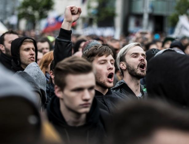 Manifestação contra a corrupção em Bratislava, na Eslováquia