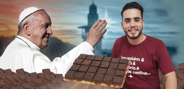 O estudante de filosofia Victor Emmanuel Cunha vende brownies para pagar passagem para se encontrar com o papa Francisco