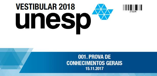 Caderno de questões da 1ª fase da Unesp - Divulgação/Vunesp