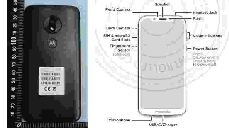 Suposto novo visual do Moto G7 Play - Reprodução/FCC