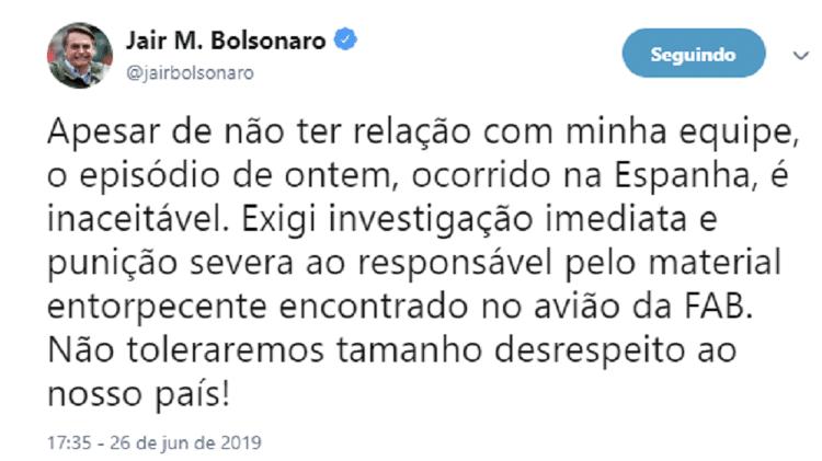 Presidente Jair Bolsonaro se manifestou sobre a prisão do sargento, em junho de 2019 - Reprodução/Twitter - Reprodução/Twitter