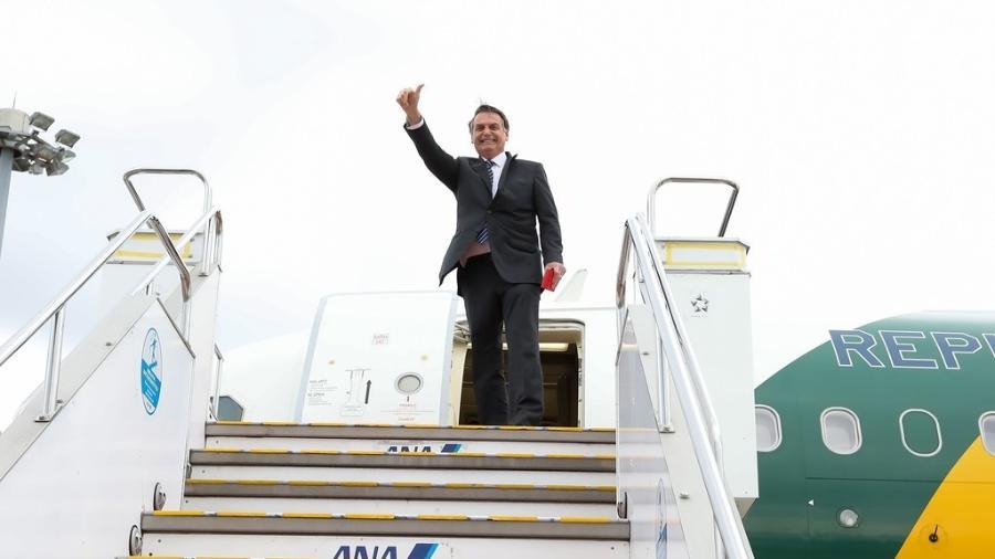 24.out.2020 - O presidente Jair Bolsonaro (PSL) embarca de Tóquio para Pequim em sua viagem pela Ásia - José Dias/PR