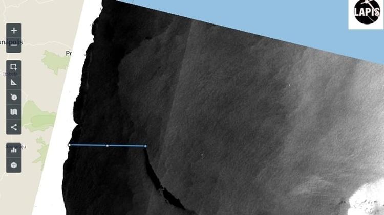 Imagens de satélite captadas pelo Lapis, da Universidade Federal de Alagoas; Marinha e Ibama dizem que não se trata de óleo - Divulgação/Lapis