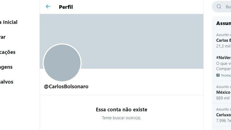 Conta de Carlos Bolsonaro some do Twitter - Reprodução
