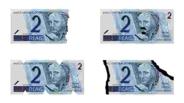 Exemplos de notas danificadas - Montagem/Reprodução/Banco Central - Montagem/Reprodução/Banco Central