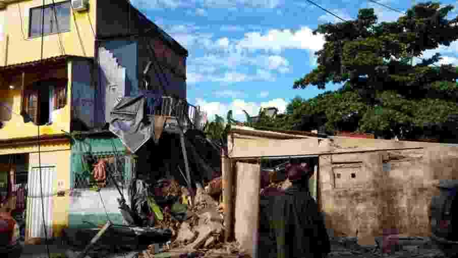 Chuva provoca desabamento de casas na zona norte do Rio de Janeiro - Reprodução/Redes sociais