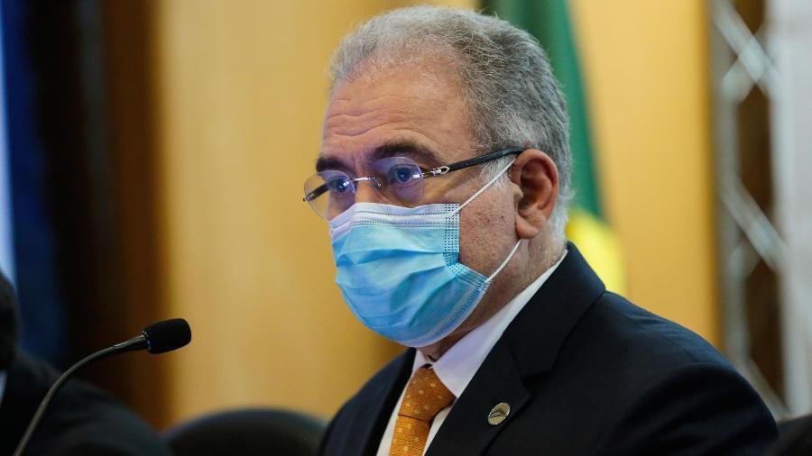 O ministro da Saúde, Marcelo Queiroga, durante anúncio do plano de vacinação de atletas para os jogos de Tóquio - 11.mai.2021 - Wallace Martins/Futura Press/Estadão Conteúdo