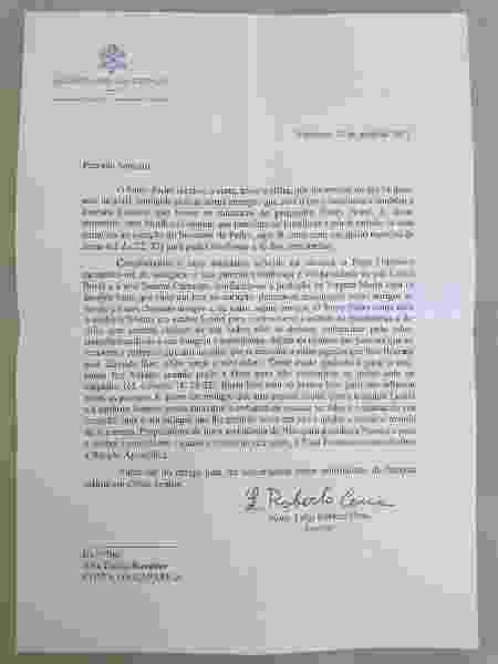 Carta do Papa - Arquivo Pessoal - Arquivo Pessoal