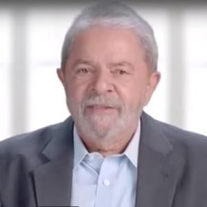O ex-presidente Luiz Inácio Lula da Silva durante o programa do PT em rede nacional