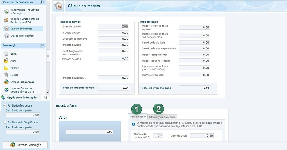 Esta tela calcula automaticamente o imposto devido e retido durante o ano de 2015. Ao final, mostra se o contribuinte vai receber restituição ou ter de pagar mais imposto. Se tiver de pagar, há a opção para escolher o número de parcelas (1) e o banco (2) para débito ou crédito
