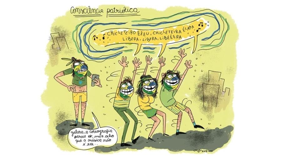 13.mar.2016 - Na hora da coreografia de protesto, o risco é confundir a música
