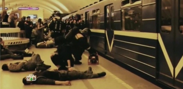A TV russa recentemente mostrou imagens de um treinamento de defesa - NTV